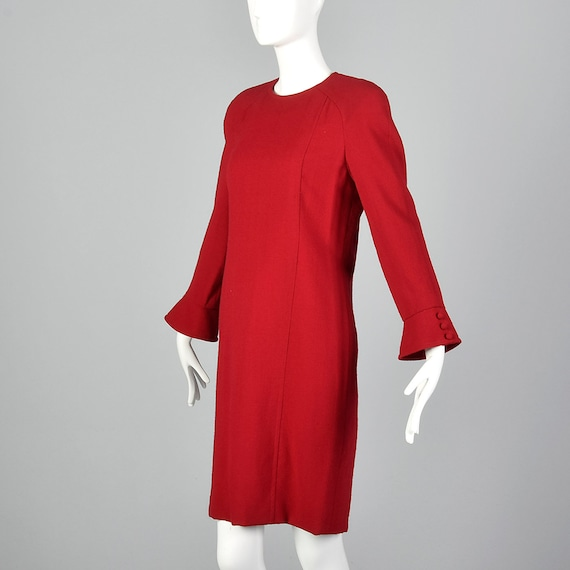 Small Travilla Red Wool Dress Long Sleeve Flared … - image 2