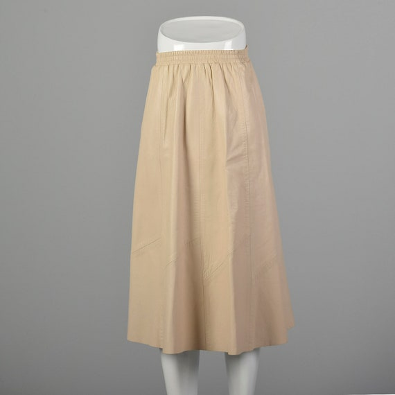XS Midi Length Skirt Champagne A-Line Leather Fall