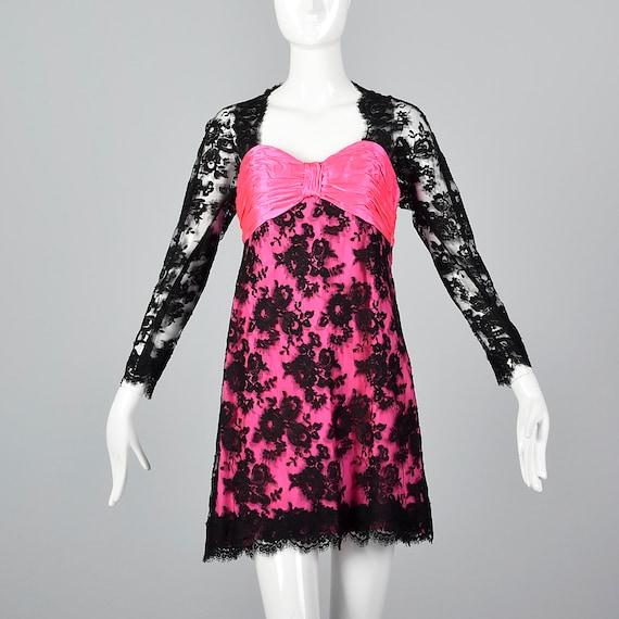 XS Travilla YT Hot Pink Dress Sheer Black Lace Ov… - image 2