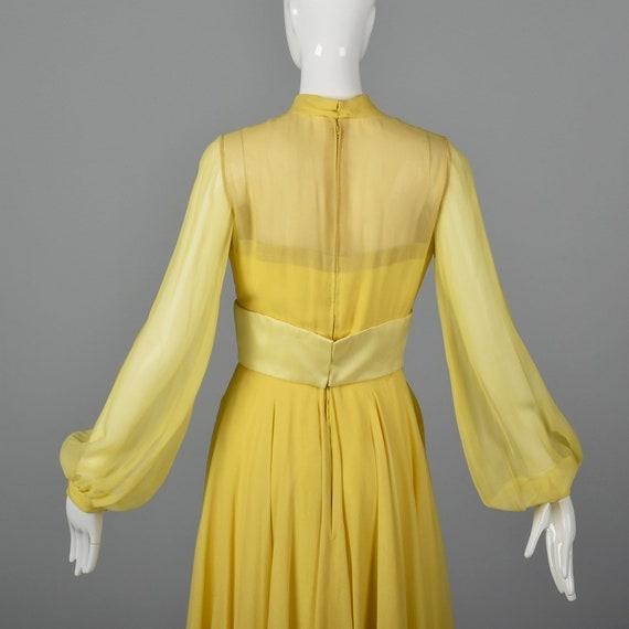 XS Travilla Yellow Chiffon Dress Romantic Formal … - image 8