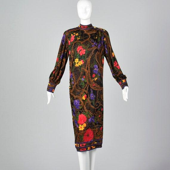 1970s Leonard Paris Loose Wool Dress Long Sleeve W