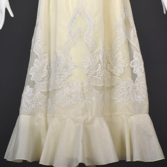 XS Gown Sheer Ivory Prom Delicate Bridal Wedding Bohemian Evening Dress Boho Lace Beach Vintage Dress 1970s 70s rnFrXUZ