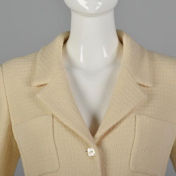 Medium Chanel 1990s Cream Wool Jacket Vintage Cha… - image 6