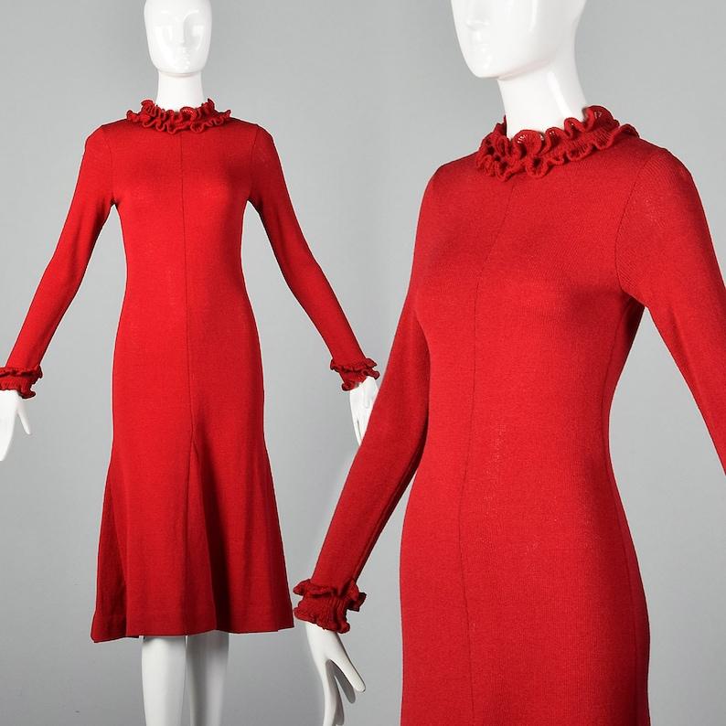 0e9e0f7eb8d XXS Red Knit Sweater Dress Long Sleeve Back Zip Ruffle Rib