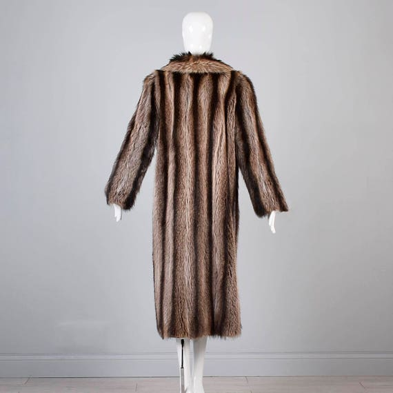 80s Fur Straight Coat Real Coat Full Winter Raccoon Loose Column 1980s Oversized Maxi Bohemian Length Small Coat Vintage Coat Long gTOwA8q