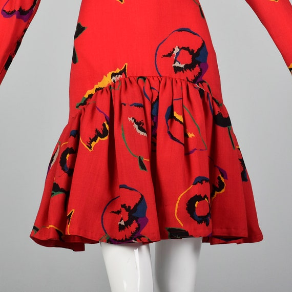 Small 1980s Pauline Trigere Dress Long Sleeve Red… - image 5