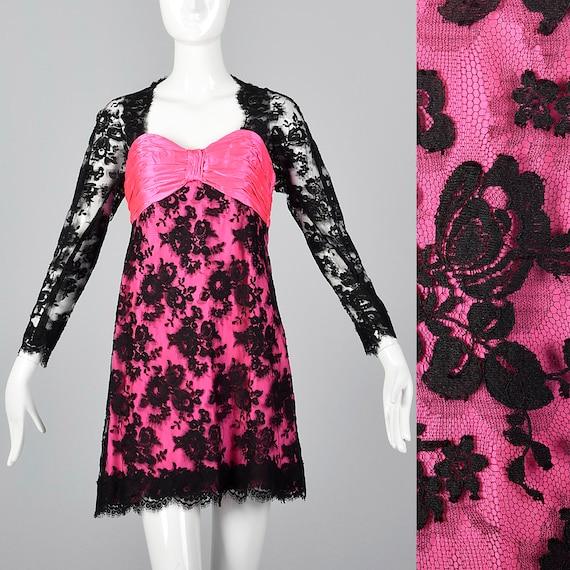 XS Travilla YT Hot Pink Dress Sheer Black Lace Ov… - image 1