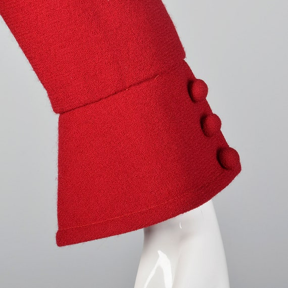 Small Travilla Red Wool Dress Long Sleeve Flared … - image 9