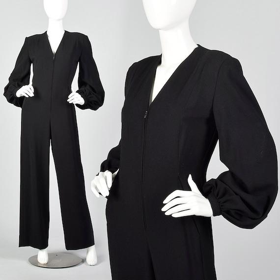 Small Pauline Trigere 1970s Wool Crepe Jumpsuit Bi