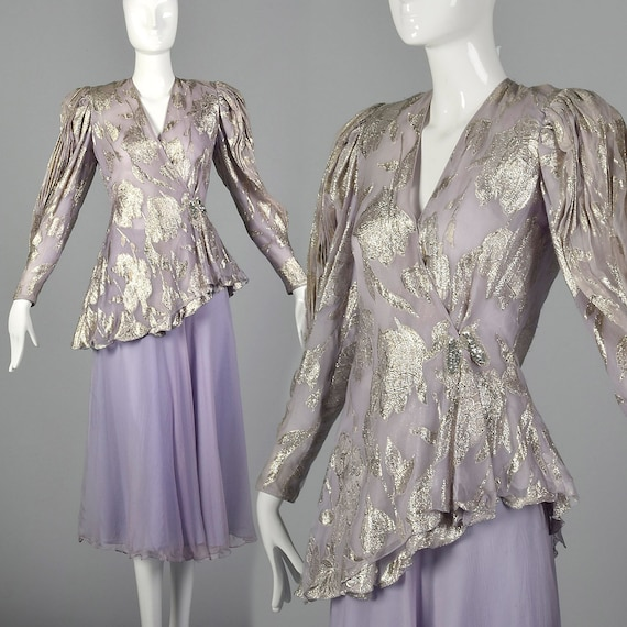 Small 1980s Lavender Two Piece Set Long Sleeve Blo