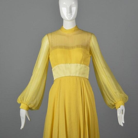 XS Travilla Yellow Chiffon Dress Romantic Formal … - image 6