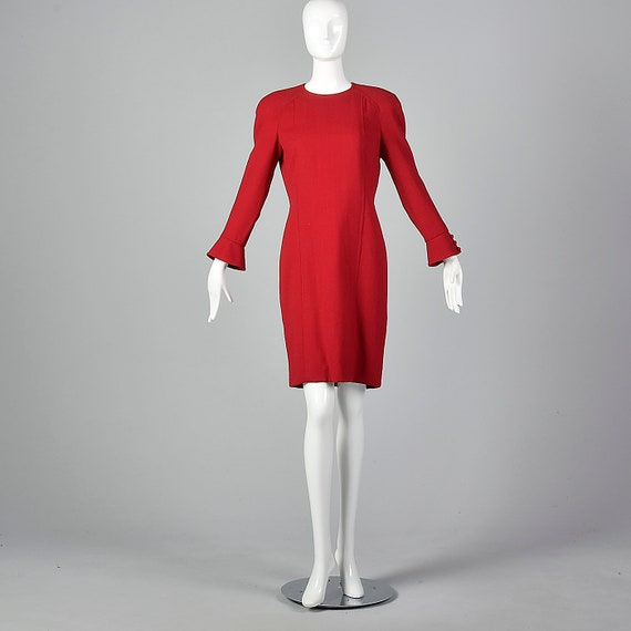 Small Travilla Red Wool Dress Long Sleeve Flared … - image 4