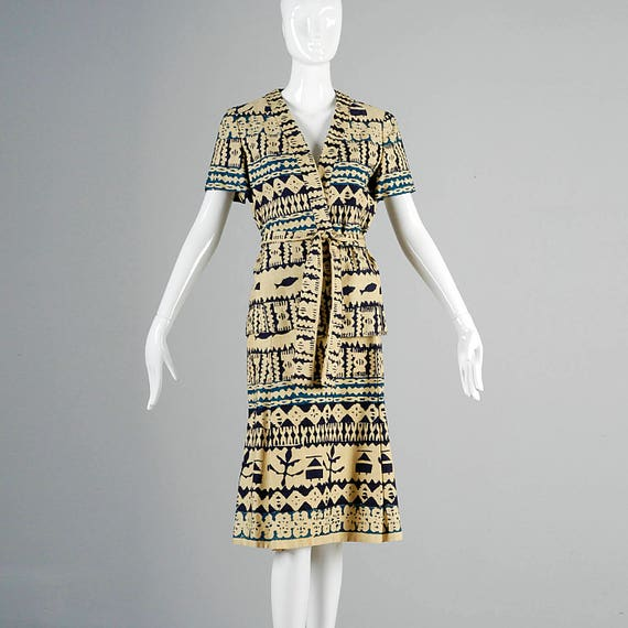 Large Ethnic Starr 1970s Barkcloth Separates 70s Casual Skirt Suit Print Vintage Malcolm 00ARFrwn