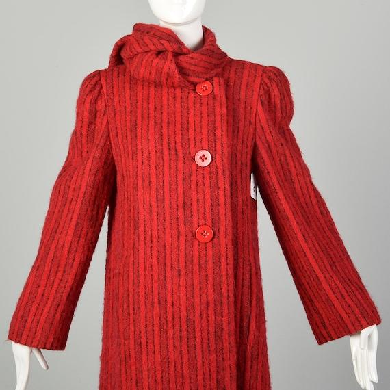 Medium 1980s Pauline Trigere Coat Red Mohair Blac… - image 8
