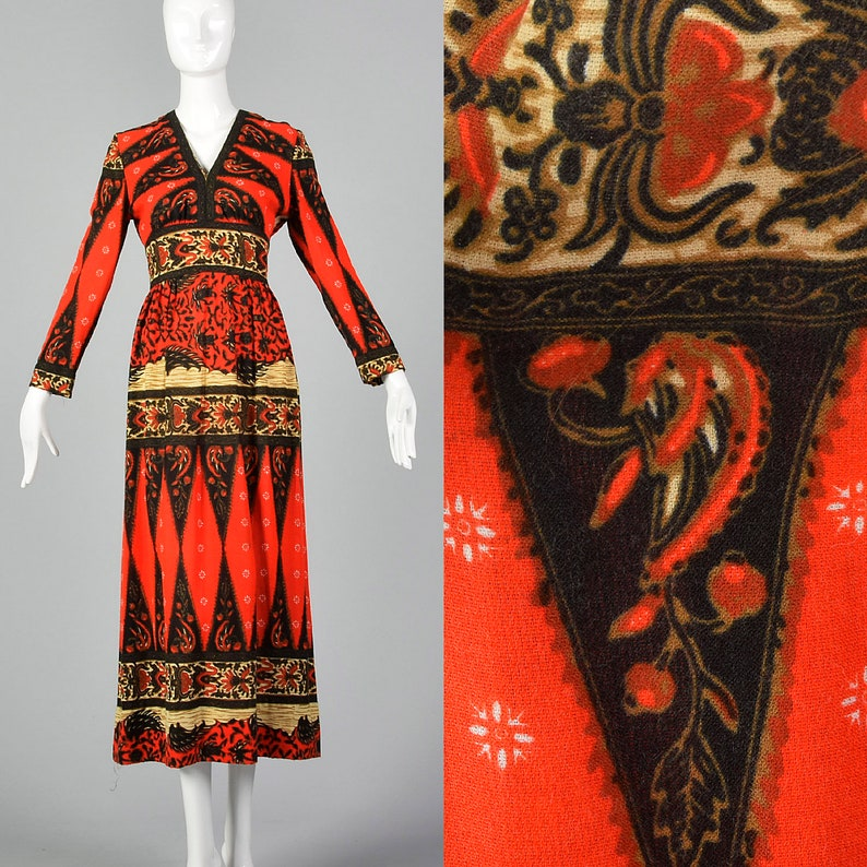 8d9607b9304 Small 1970s Suzy Perette by Victor Costa Ethnic Print Dress