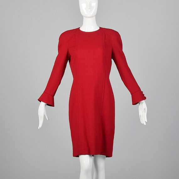 Small Travilla Red Wool Dress Long Sleeve Flared … - image 1