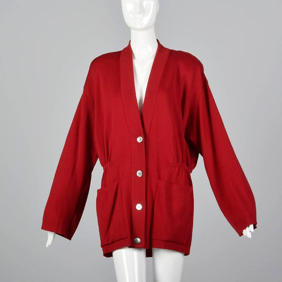 Donna Oversized Large Sleeve Wool 1980s Vintage Separates Red 80s Separates Wool Karan Cardigan Cardigan Long Knit gUfgw