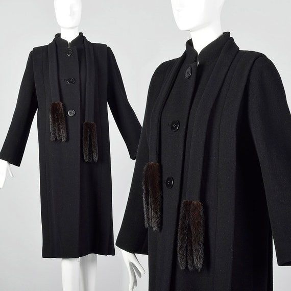 Small 1980s Pauline Trigere Coat Black Wool Winter
