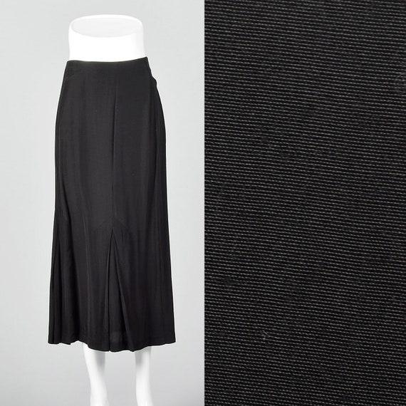 Small 1980s Norma Kamali Black Mermaid Skirt Pleat