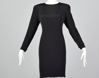 Small Pauline Trigere Late 1970s / Early 1980s Classic Black Dress 80s Hobble Skirt Dress Black Fetish Dress