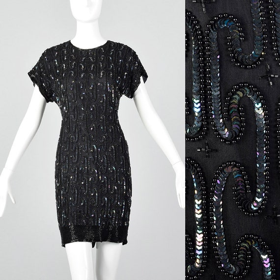 XXS Black Silk Sequin Cocktail Dress Beading Short