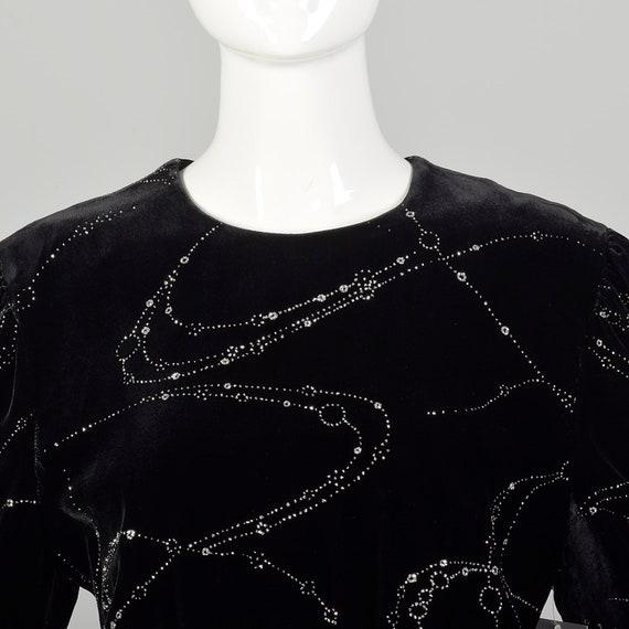 Large 1980s Escada Dress Black Velvet Glitter Ruf… - image 5