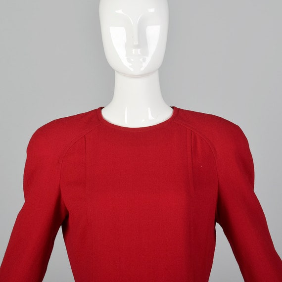 Small Travilla Red Wool Dress Long Sleeve Flared … - image 6