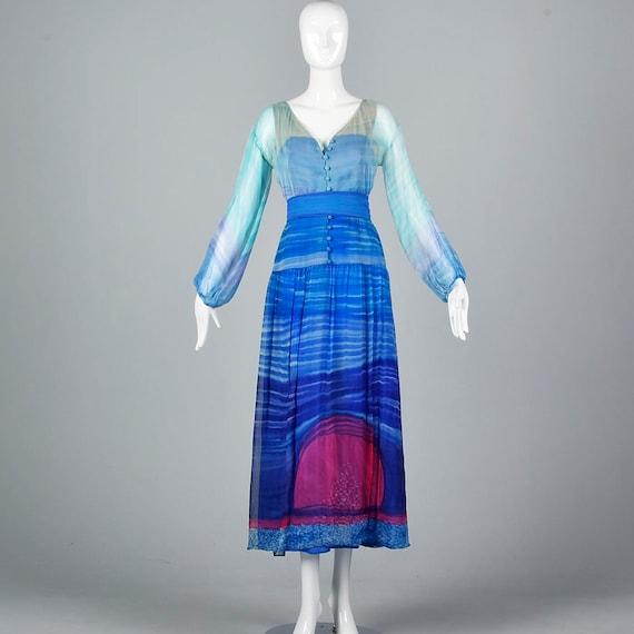 Small Travilla Flowy Silk Dress Long Sleeve Royal… - image 1