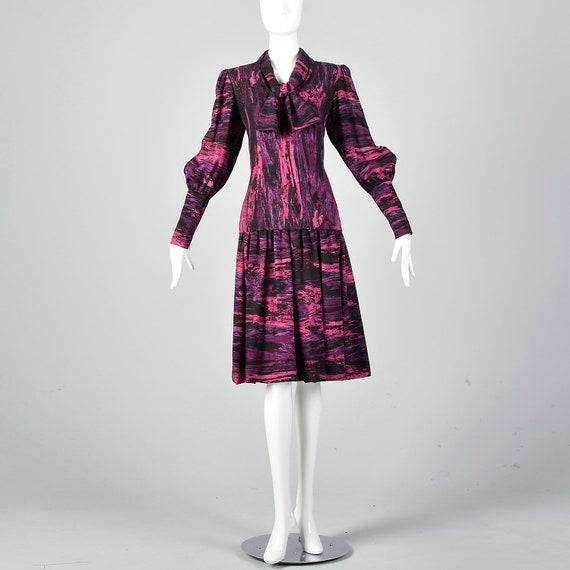 Medium Pauline Trigere Drop Waist Dress 1980s Tri… - image 2