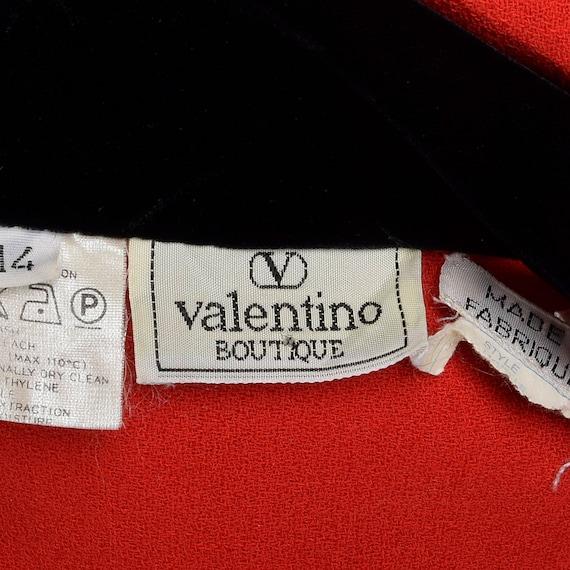Black Wool Simple Vintage Pockets Button Valentino Boutique Large Dress Sleeve Velvet Red Large Long Vintage 80s 1980s Front Dress qwvzxXnHg