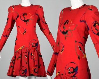 Small 1980s Pauline Trigere Dress Long Sleeve Red Dress Drop Waist Pencil Skirt Ruffle Overskirt Autumn Winter 80s Vintage