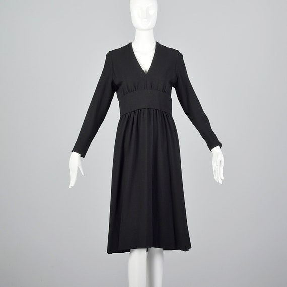 Medium 1970s Norell-Tassell Black Wool Dress Norma
