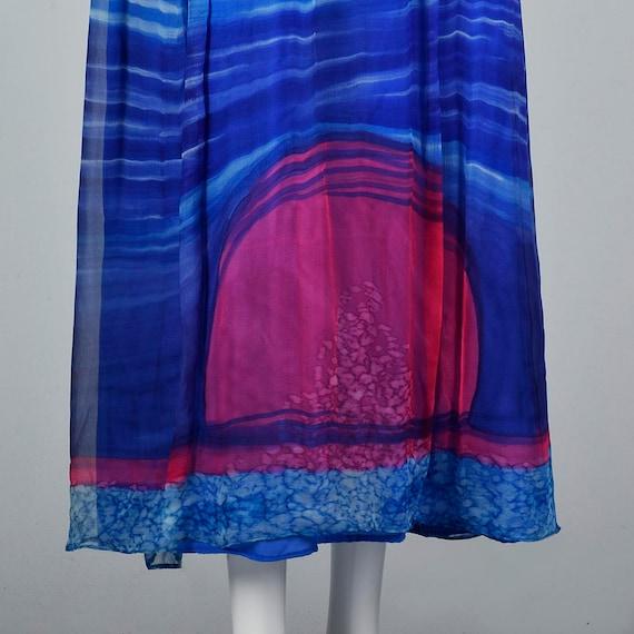 Small Travilla Flowy Silk Dress Long Sleeve Royal… - image 4