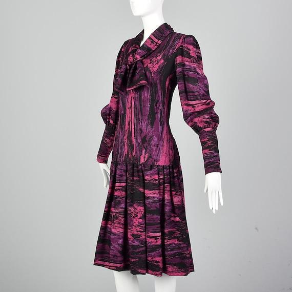 Medium Pauline Trigere Drop Waist Dress 1980s Tri… - image 4
