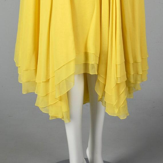 XS Travilla Yellow Chiffon Dress Romantic Formal … - image 4