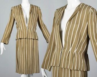 Large Pauline Trigere Skirt Suit Blazer Jacket 1980s Business Suit Designer Summer Linen Suit Fitted Waist Stripe Skirt Suit Vintage  80s