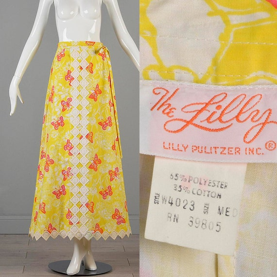 70s Maxi Skirt Lilly Pulitzer Skirt Yellow Maxi Sk