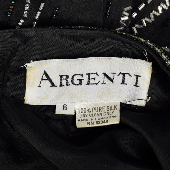 XS 1980s Argenti Black Beaded Dress Pullover Ball… - image 10