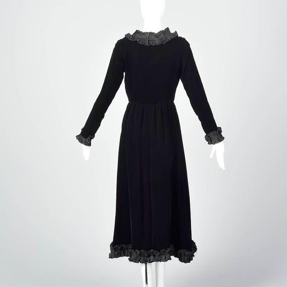 Midi Trim Black Faux Velvet Ruffle Dress Sleeve Laurent Winter Long XS Gauche Dress Wrap Yves Saint Rive RcWf6BnUpq