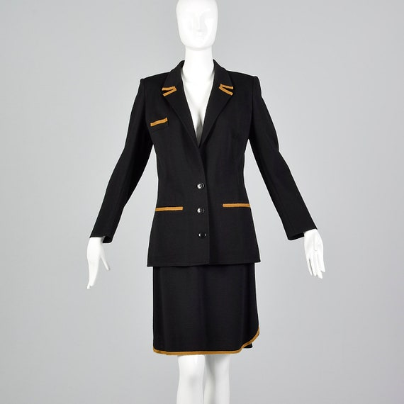 Medium 1980s Sonia Rykiel Black Skirt Suit Wool Se