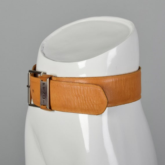 Small Fendi Wide Leather Belt Silver Buckle Brown… - image 2