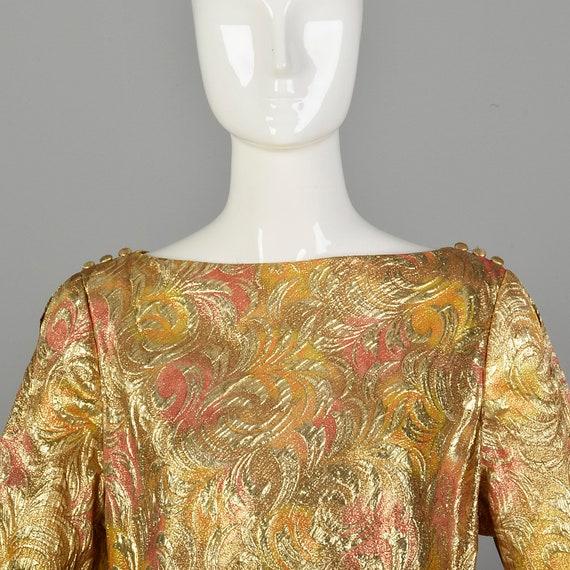 1960s Lucie Ann Kaftan Metallic Gold Tent Dress L… - image 5