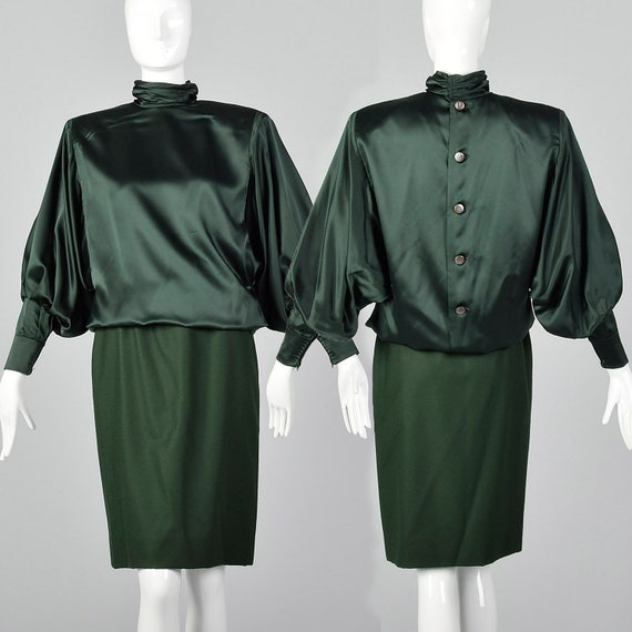 Small Galanos 1980s Green Blouse and Skirt Set Bat