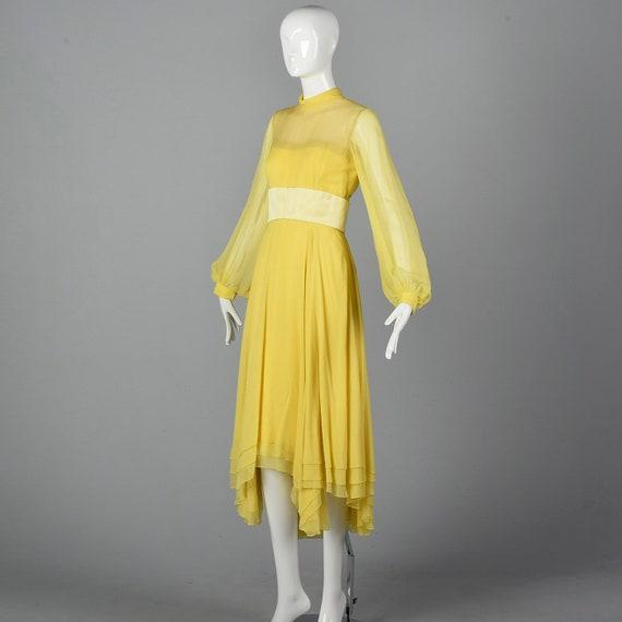 XS Travilla Yellow Chiffon Dress Romantic Formal … - image 2