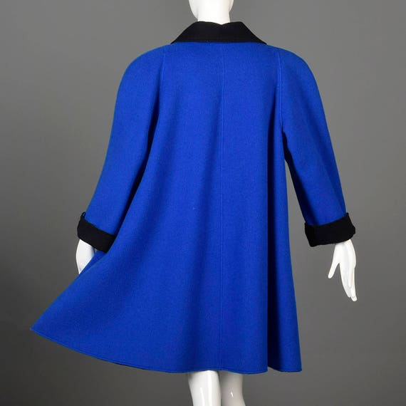 Blue Oscar Loose XXL Wool Winter de la 80s Renta 1980s Coat Swing Vintage Coat 550rx8w