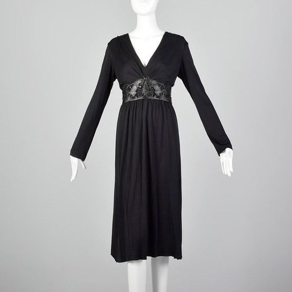 Large Cacharel Black Dress Silk Jersey 1990s Desig