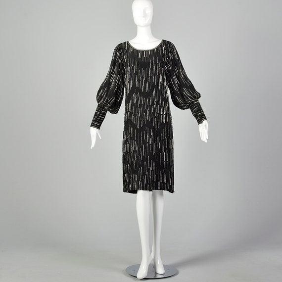 XS 1980s Argenti Black Beaded Dress Pullover Ball… - image 2