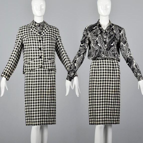 XXS Rudi Gernreich Skirt Suit Black & White Check