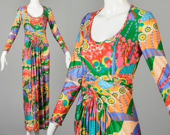 XS 1970s Robert David Morton Maxi Dress 70s Signed Designer Maxi Dress Long Sleeve Maxi Dress Colorful Psychedelic Print Tall Vintage Woman
