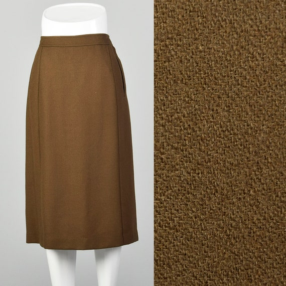 Small Givenchy Skirt 1980s Brown Wool Pockets Desi